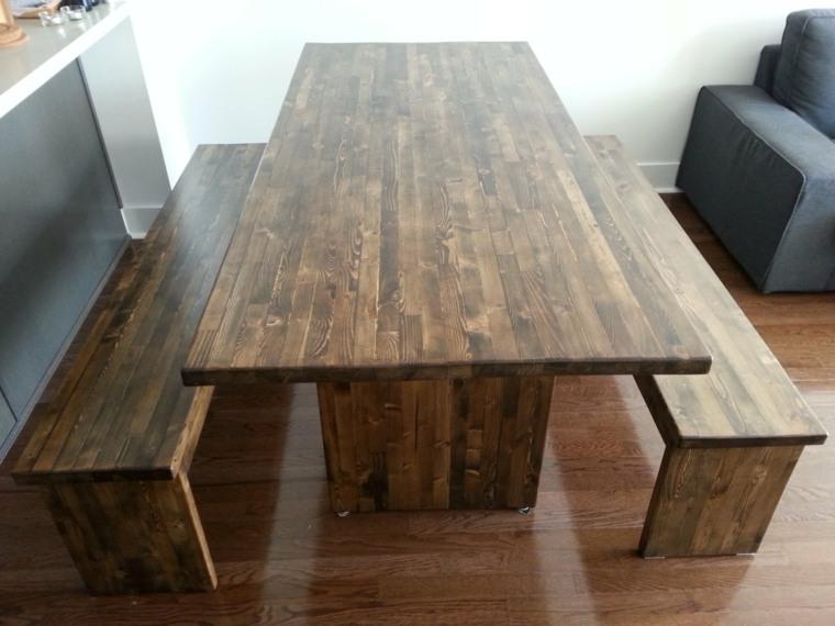 mesas madera acento rustico comedor mesa bancos ideas
