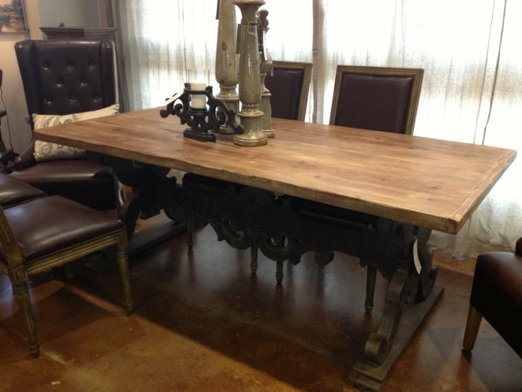 mesas-de-madera-acento-rustico-comedor-no-pulid-mesa