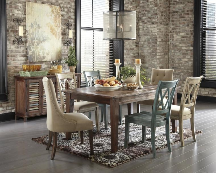 mesa madera acento rustico comedor pequeno toques rusticos ideas