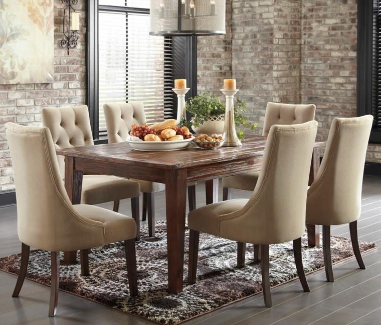mesas madera acento rustico comedor sillas comodas ideas