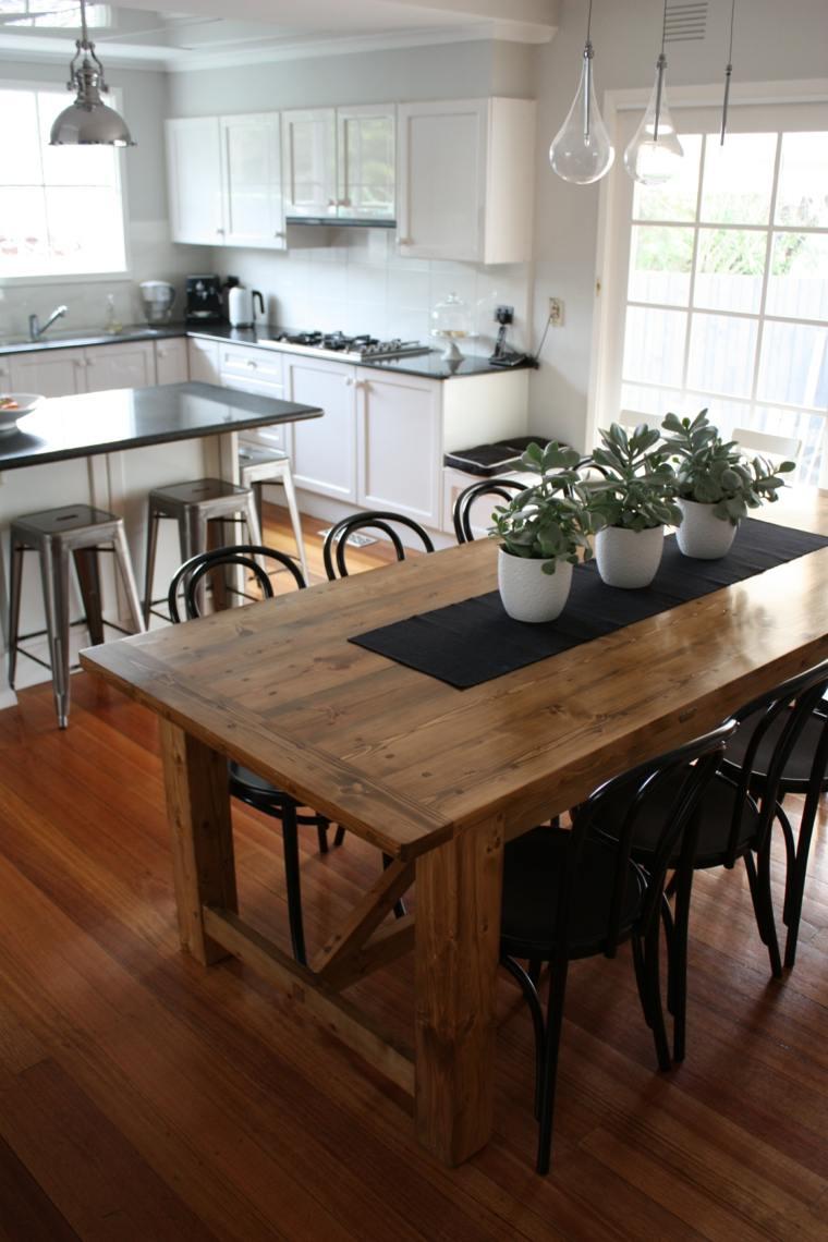 mesas madera acento rustico comedor sillas madera curvada ideas
