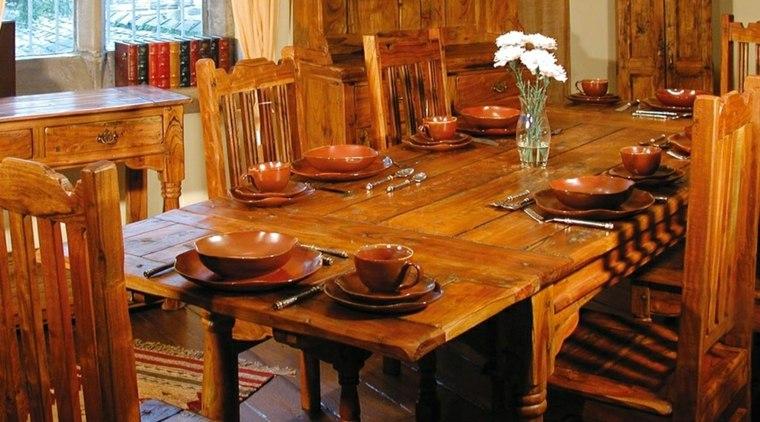 mesas madera acento rustico comedor sillas madera ideas
