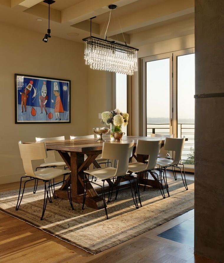 mesas madera acento rustico comedor sillas moderno diseno ideas