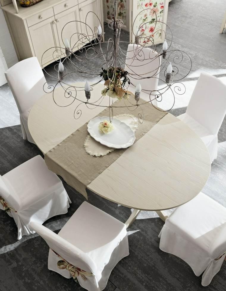mesas madera acento rustico comedor mesa ovalada blanca ideas