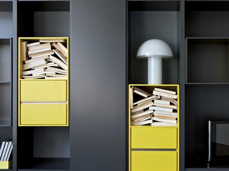mobiliario modular amarillo salones lamparas