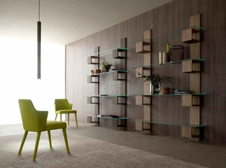 mobiliario modular cristales soportes verdes