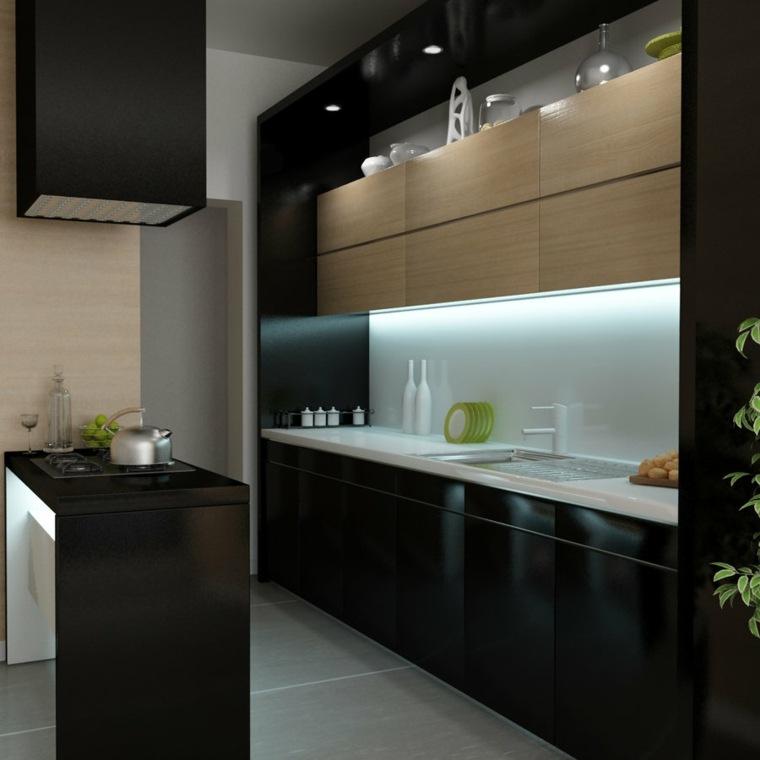 modelo clasico cocina negra gabinetes madera ideas