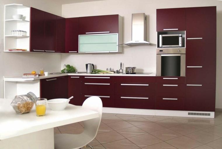 muebles para la cocina de color granate