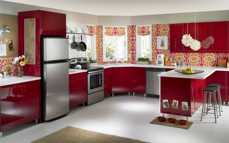 muebles para la cocina rojo oscuro