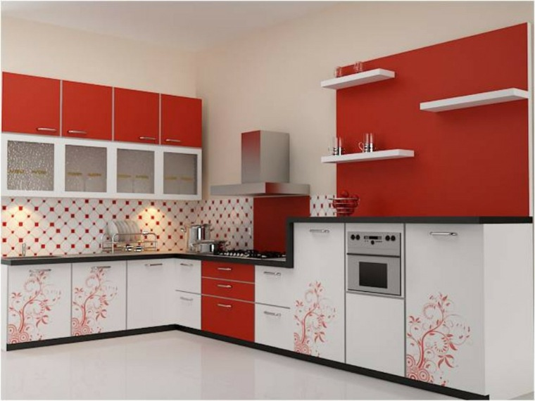 muebles para la cocina rojo