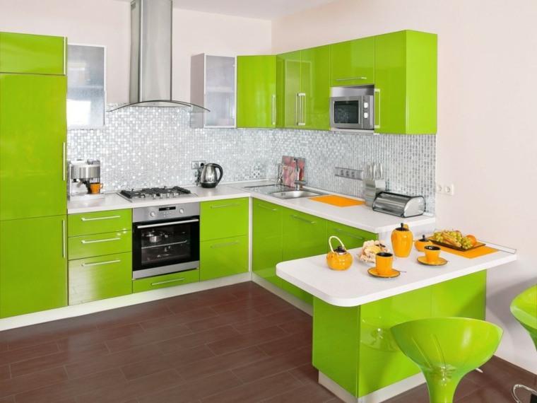 muebles para la cocina verde blanco