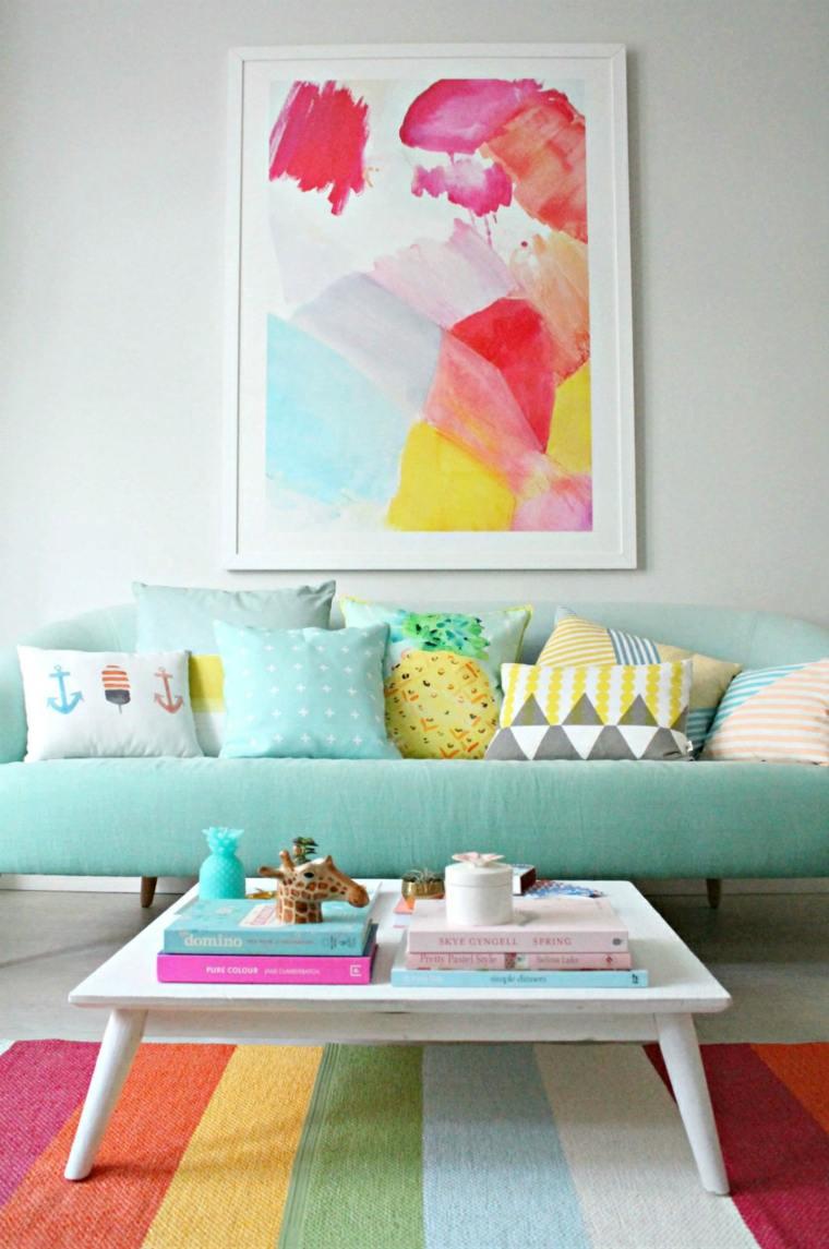 muebles salon tonos pastel brillantes