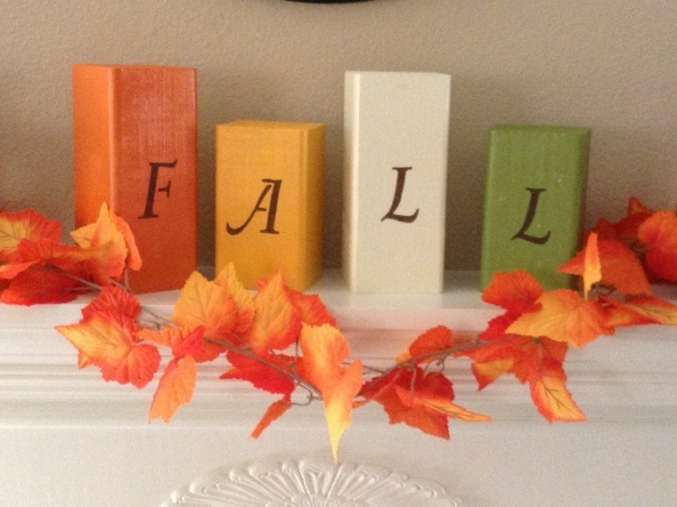 ninos manualidades bloques madera otoño