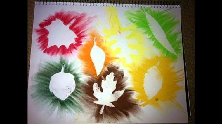 ninos dibujar siluetas hojas otoño