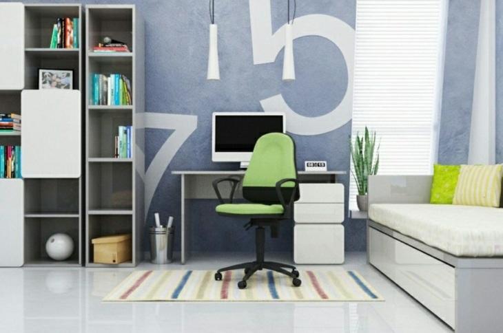 numeros paredes colores muebles verdes