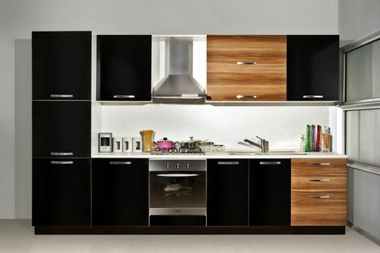 opciones cocinas espacios pequenos negro madera ideas
