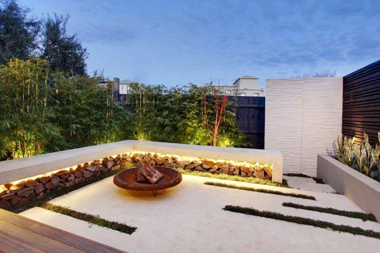 original terraza chimenea leña