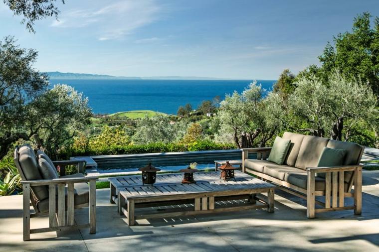 original diseño terraza muebles madera