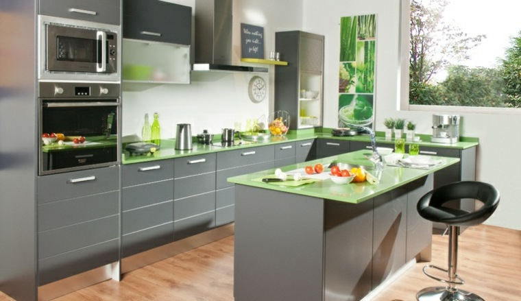 originales encimeras cocina verde vidrio