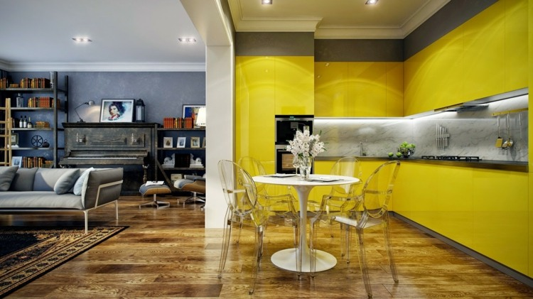 pared acento amarillo esquemas muestra