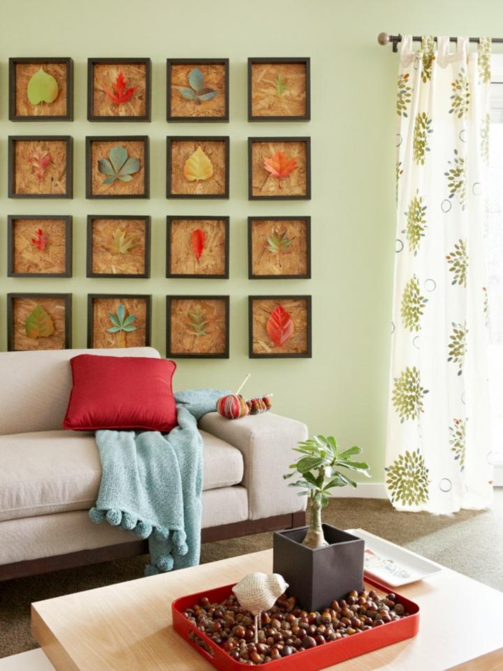 paredes decoracion hojas enmarcadas diy