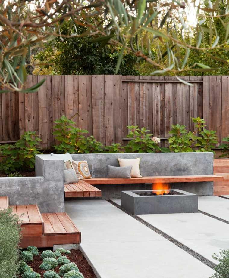 patio diseño formas casas modulares cojines