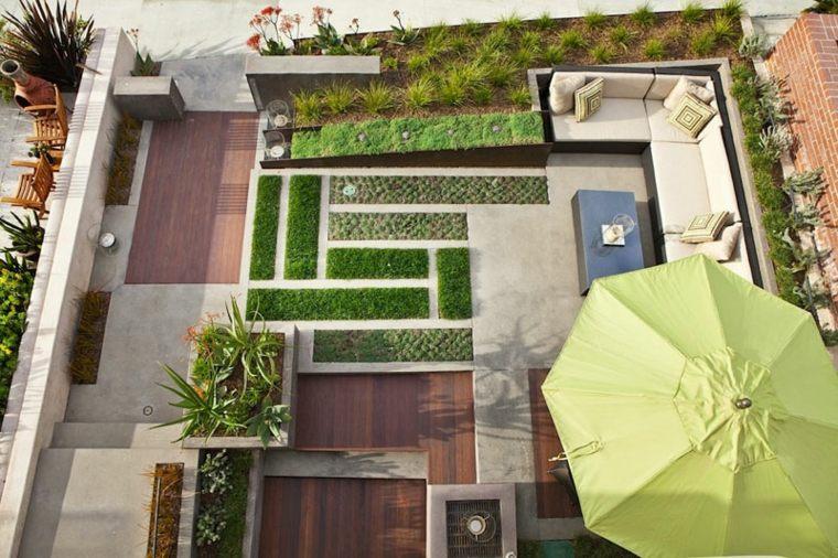 patio diseño sombrillas idea salas flores
