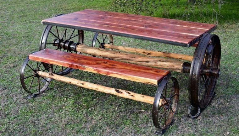 patio rústico banco mesa ruedas