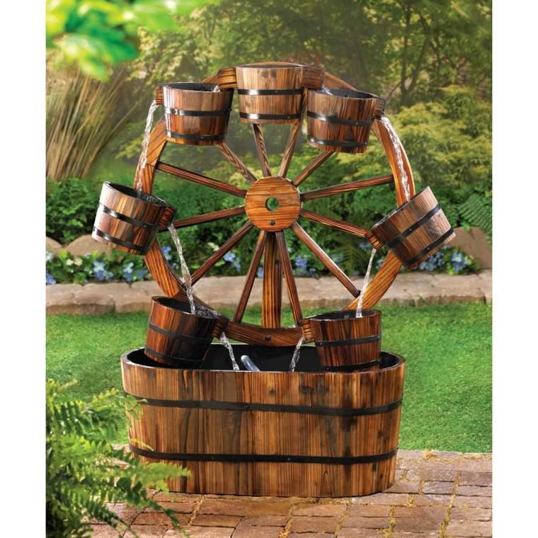 rueda de madera con cubos para el pozo de nuestro jardn patios rsticos decoracin