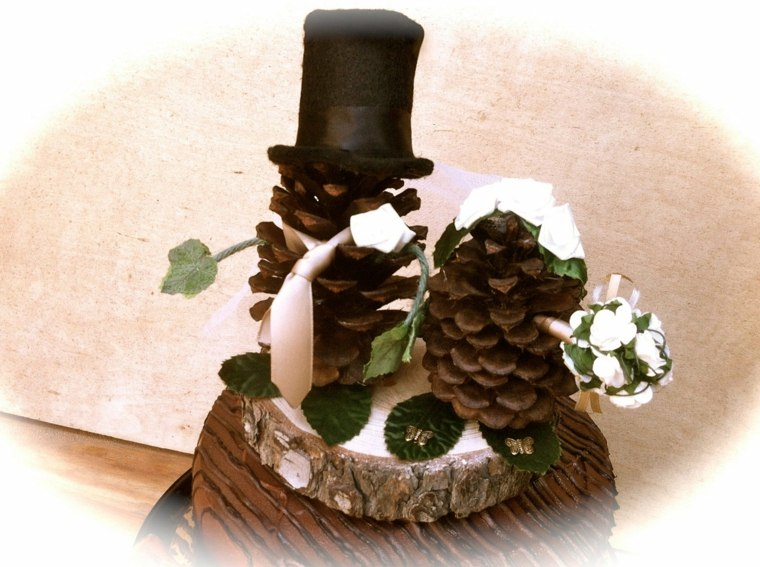 piñas secas para decorar boda