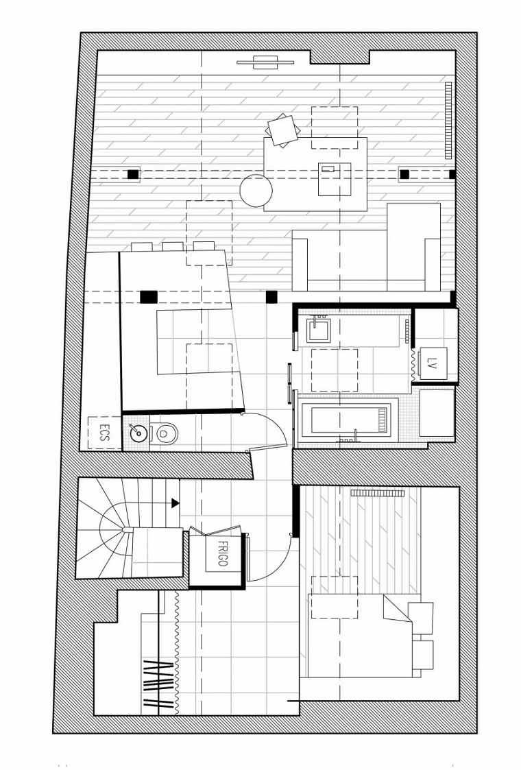 plano distibucion muebles soluciones escalera