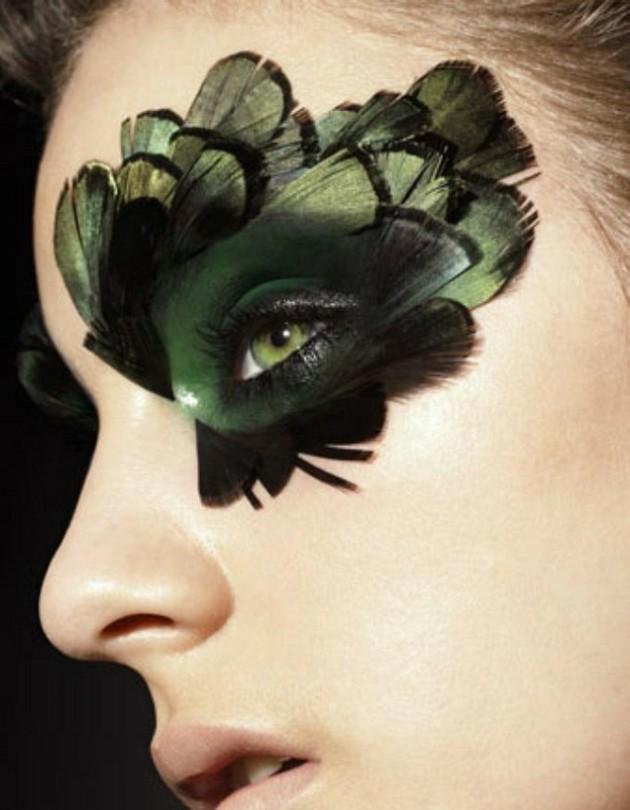 plumas ojos maquillajes estilos efectos