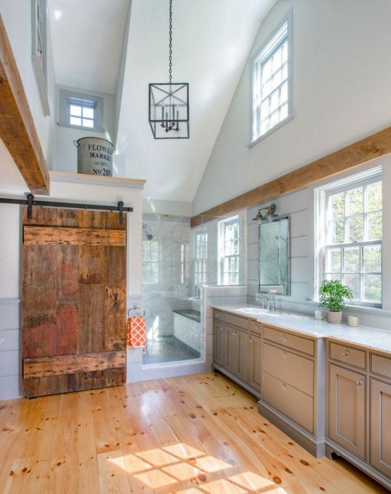 puerta corredera madera diseno bano opciones ideas