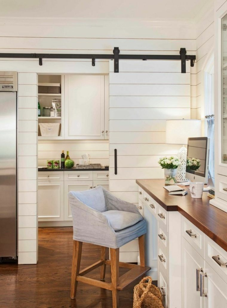 puerta corredera madera diseno cocina moderna ideas