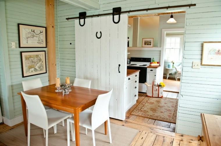 puerta corredera madera diseno comedor tradicional ideas