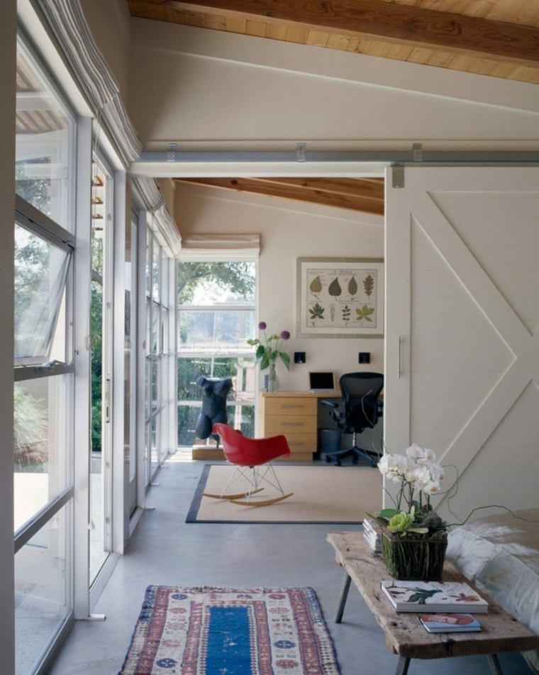puerta corredera madera diseno dividir espacios ideas