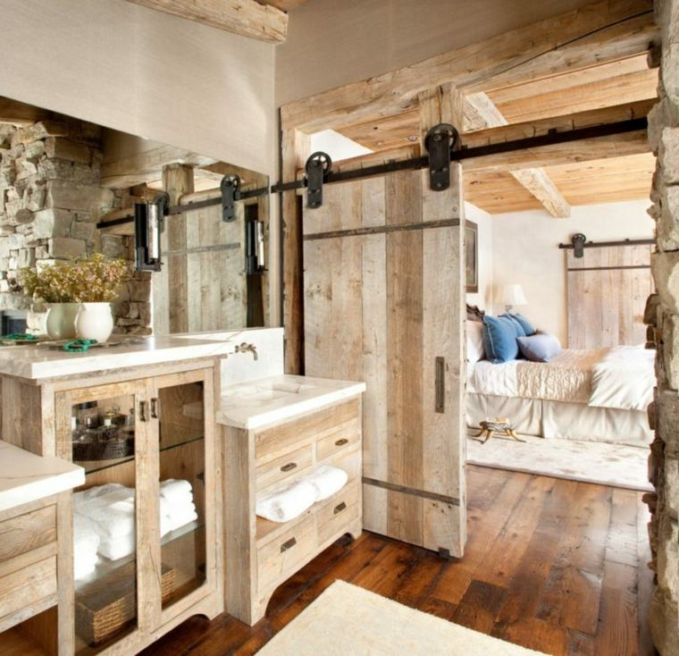 puerta corredera madera diseno dormitorio bano rustico ideas