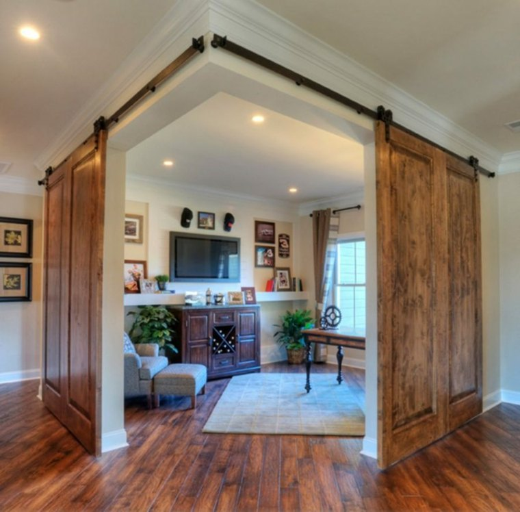 puerta corredera madera diseno dos angulo ideas