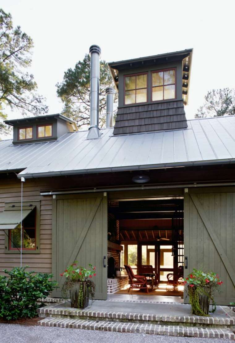 puerta corredera madera diseno entrada casa verde ideas