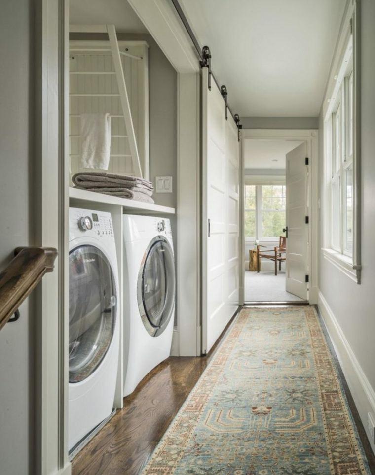 puerta corredera madera diseno espacio lavadora escondido ideas
