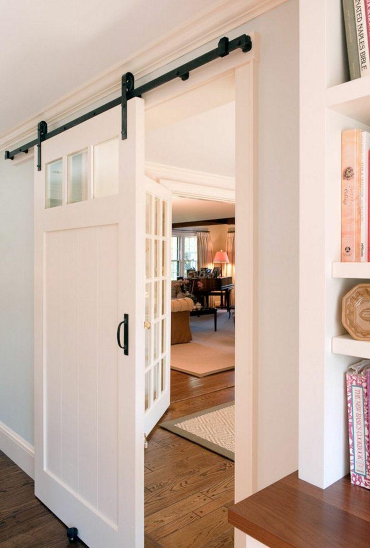 puerta corredera madera diseno pasillo ideas