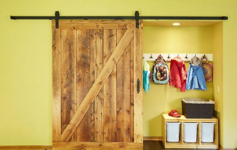 puerta corredera madera diseno rustico vintage ideas
