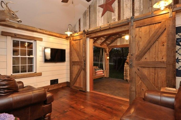 puerta corredera madera diseno salon rustico ideas