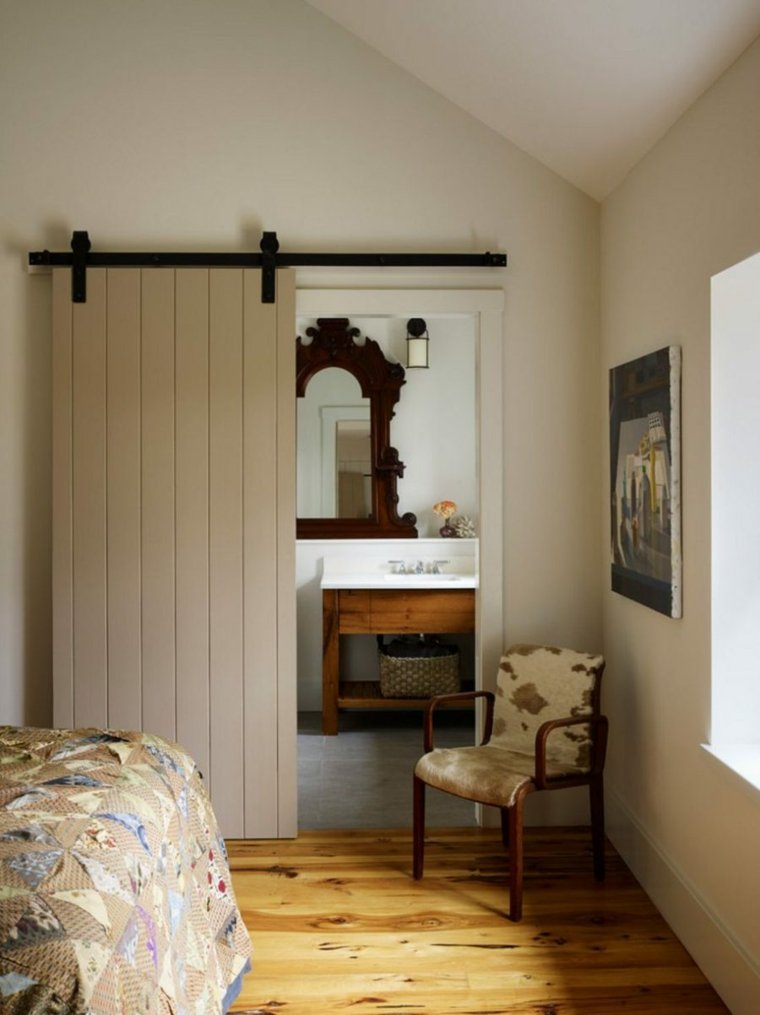 puerta corredera madera diseno separa bano dormitorio ideas