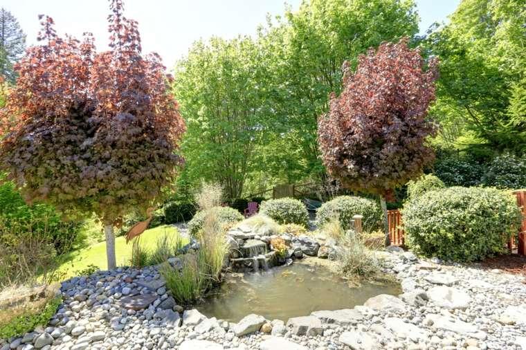 rocas jardines arboles rodeado color