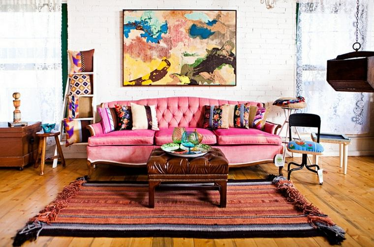sala boho sofa color rosa