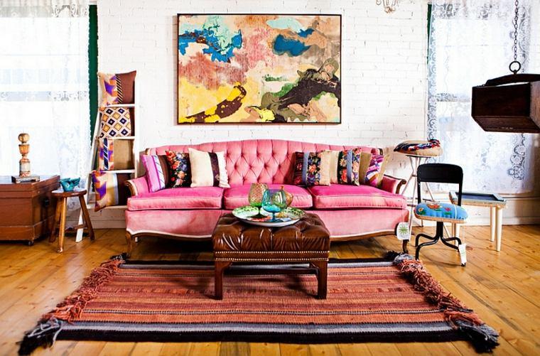 sala boho sofa color rosa