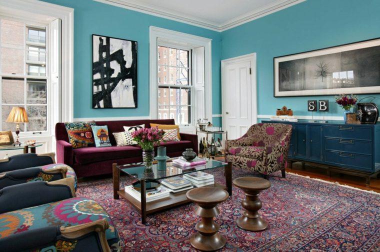 sala estar paredes color turquesa