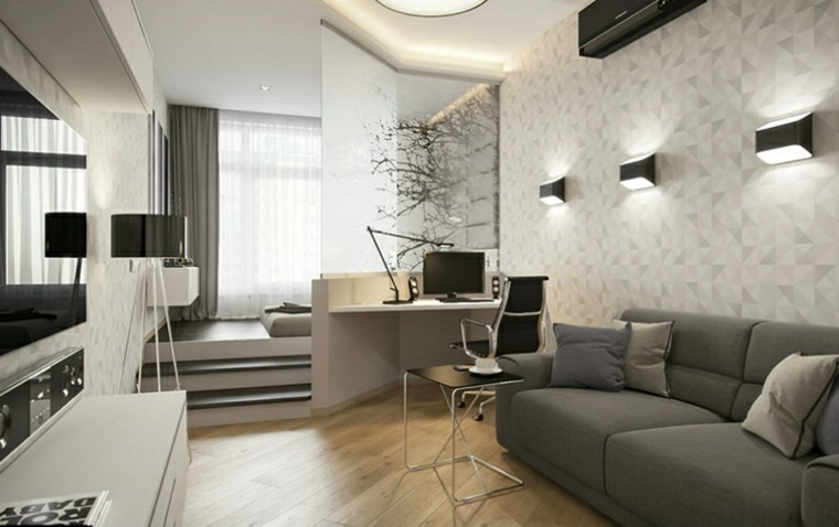 sala estar decorada tonos grises