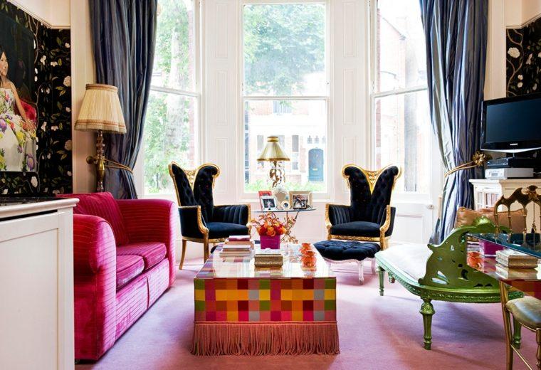 salon boho moderno muebles retro